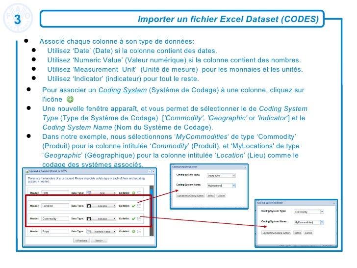 Importer un fichier Excel Dataset (CODES) <ul><li>Associé chaque colonne à son type de données: </li></ul><ul><ul><li>Util...