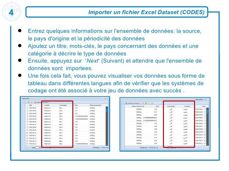 Importer un fichier Excel Dataset (CODES) <ul><li>Entrez quelques informations sur l'ensemble de données: la source, le pa...