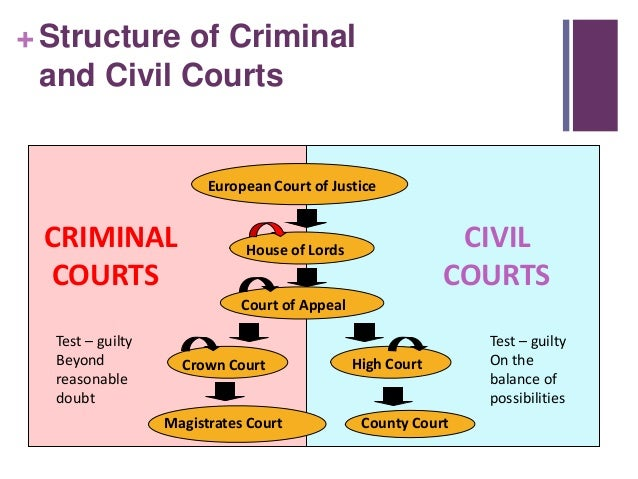 criminal and civil court structures In the criminal justice system, the process begins after a crime has been  a civil  court finding of liability usually means that the defendant must pay the victim or.