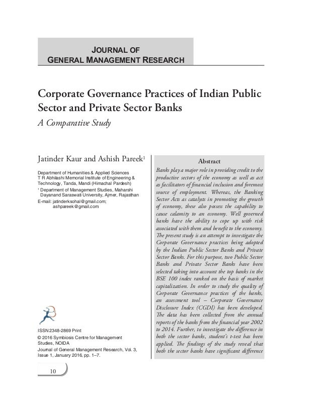 Corporate Governance Practices of Indian Public Sector and Private Se…