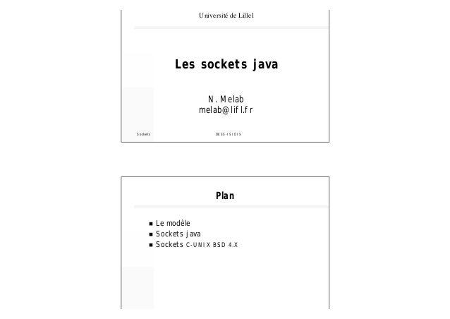 Université de Lille1  Les sockets java N. Melab melab@lifl.fr Sockets  DESS-ISIDIS  Plan n n n  Le modèle Sockets java Soc...