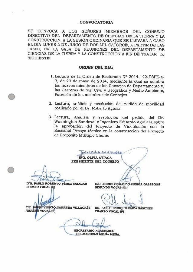 CONVOCATORIA  SE CONVOCA A LOS SEÑORES MIEMBROS DEL CONSEJO DIRECTIVO DEL DEPARTAMENTO DE CIENCIAS DE LA TIERRA Y LA CONST...