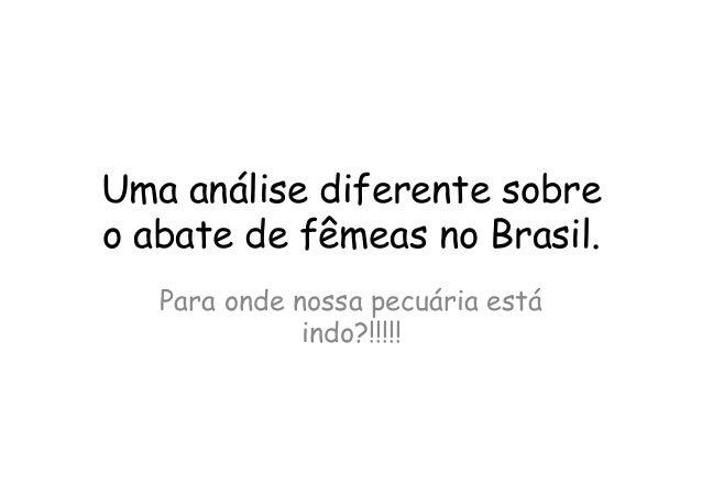 Uma análise diferente sobreo abate de fêmeas no Brasil.Para onde nossa pecuária estáindo?!!!!!
