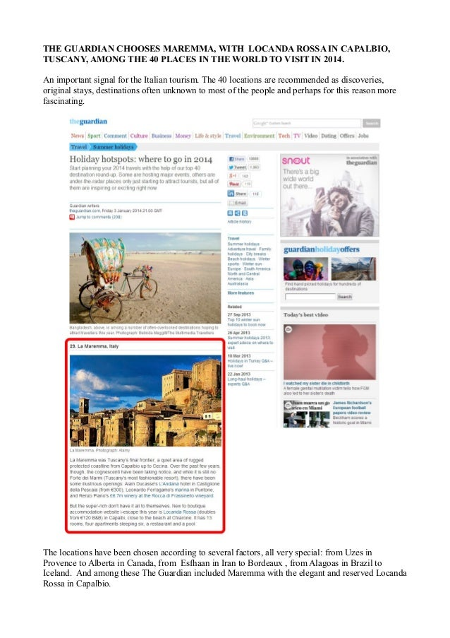 THE GUARDIAN CHOOSES MAREMMA, WITH LOCANDA ROSSA IN CAPALBIO, TUSCANY, AMONG THE 40 PLACES IN THE WORLD TO VISIT IN 2014. ...