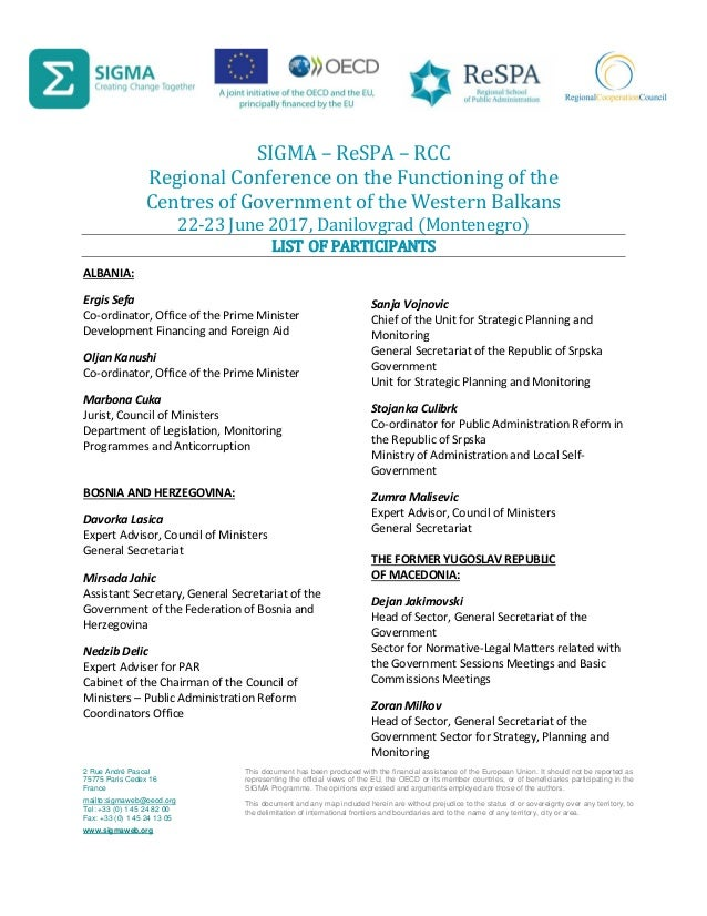 SIGMA – ReSPA – RCC Regional Conference on the Functioning of the Centres of Government of the Western Balkans 22-23 June ...