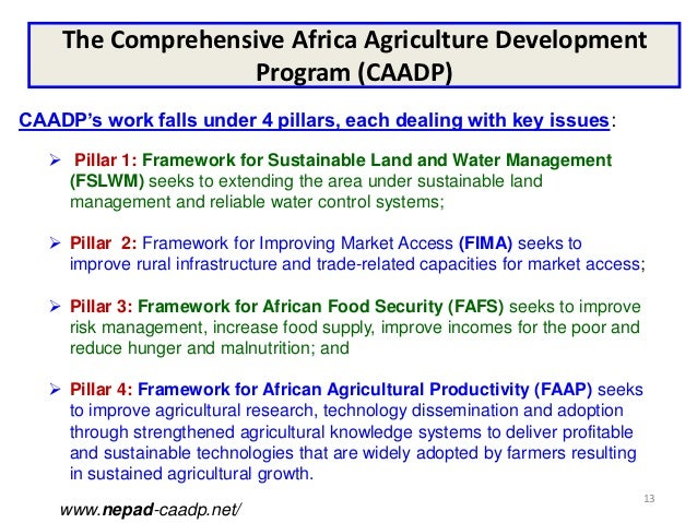 The Comprehensive Africa Agriculture Development                   Program (CAADP)CAADP's work falls under 4 pillars, each...