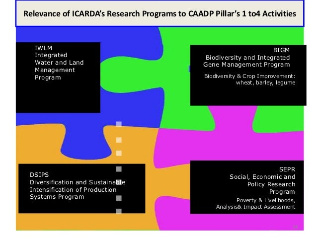 Programs at ICARDARelevance of ICARDA's Research Programs to CAADP Pillar's 1 to4 Activities   IWLM                       ...