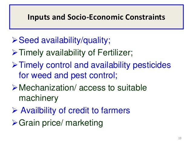 Inputs and Socio-Economic ConstraintsSeed availability/quality;Timely availability of Fertilizer;Timely control and ava...