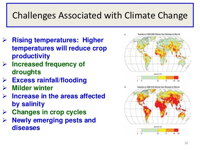 Challenges Associated with Climate Change Rising temperatures: Higher  temperatures will reduce crop  productivity Incre...