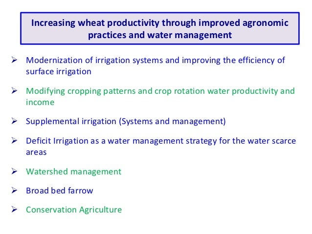 Increasing wheat productivity through improved agronomic                 practices and water management Modernization of ...