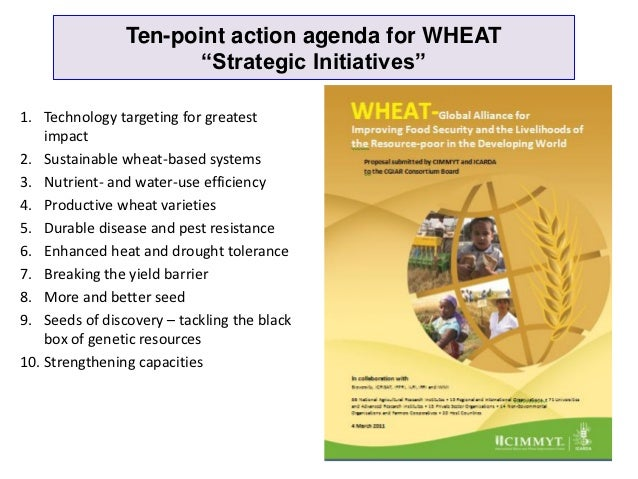 """Ten-point action agenda for WHEAT                       """"Strategic Initiatives""""1. Technology targeting for greatest    imp..."""