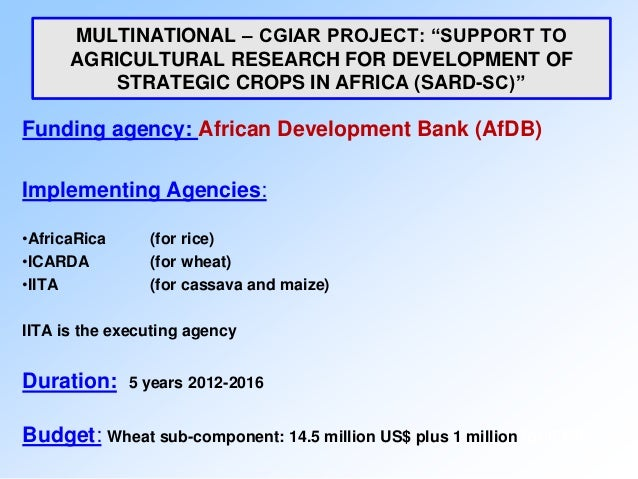 """MULTINATIONAL – CGIAR PROJECT: """"SUPPORT TO      AGRICULTURAL RESEARCH FOR DEVELOPMENT OF          STRATEGIC CROPS IN AFRIC..."""