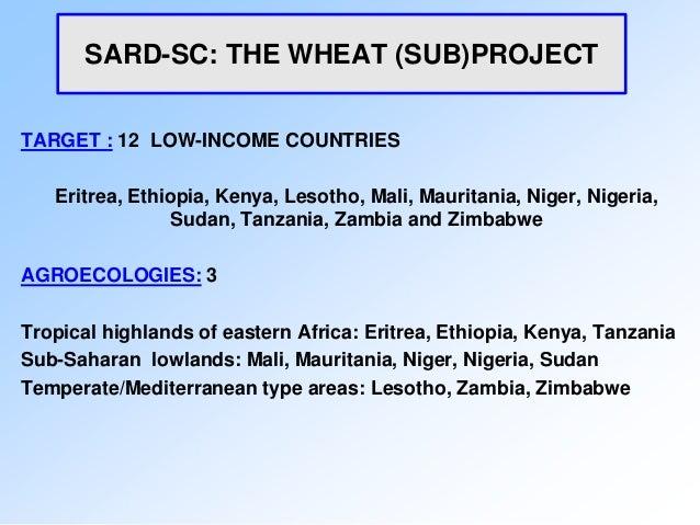 SARD-SC: THE WHEAT (SUB)PROJECTTARGET : 12 LOW-INCOME COUNTRIES   Eritrea, Ethiopia, Kenya, Lesotho, Mali, Mauritania, Nig...