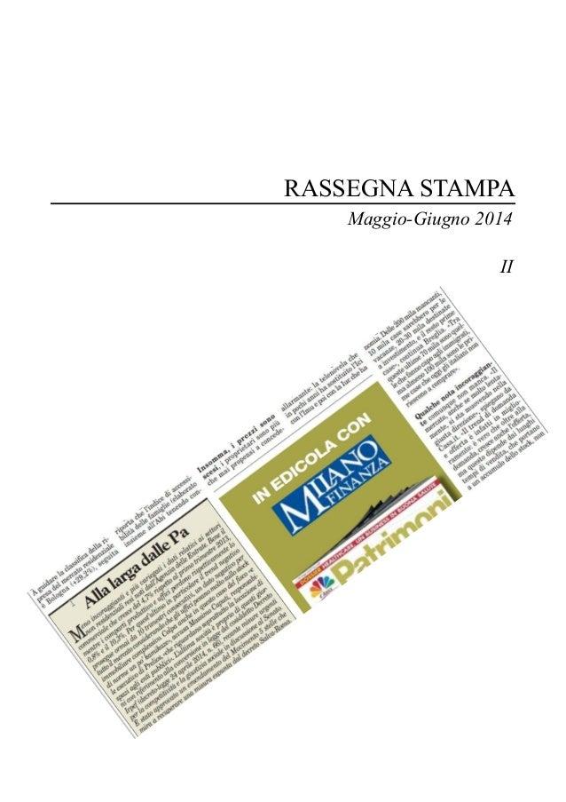 RASSEGNA STAMPA Maggio-Giugno 2014 II