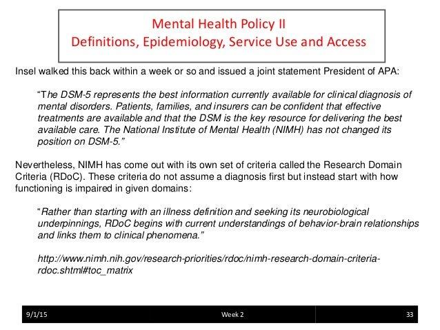 Mental Health Policy - Defining mental illness ...