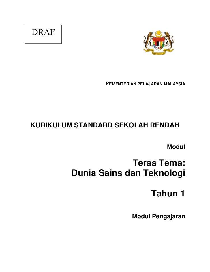 DRAF                KEMENTERIAN PELAJARAN MALAYSIAKURIKULUM STANDARD SEKOLAH RENDAH                                       ...