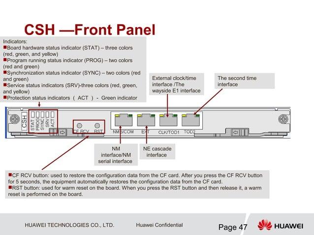 CSH —Front PanelIndicators:Board hardware status indicator (STAT) – three colors(red, green, and yellow)Program running ...