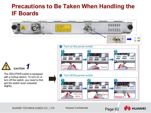 Precautions to Be Taken When Handling the       IF Boards                     1The ODU-PWR switch is equippedwith a lockup...