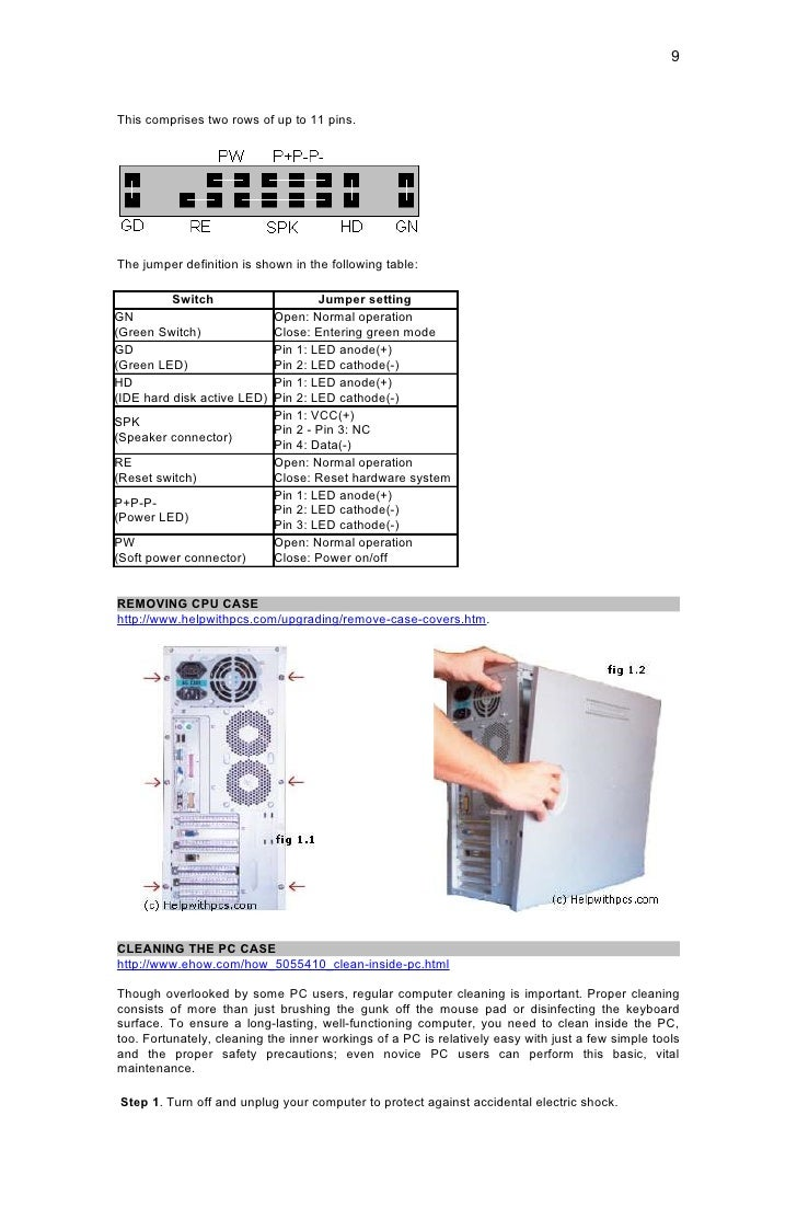 Pc Hardware Servicing Hand Out 1 Inside A Computer Diagram Picture Of 9