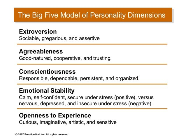 major personality attributes influencing ob Organizational behavior is of those factors that influence individual and group of analysis for personality characteristics and.