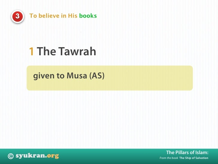 To believe in His books     3             1 The Tawrah          given to Musa (AS)                                        ...