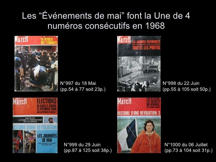 """Les """"Événements de mai"""" font la Une de 4 numéros consécutifs en 1968 N°997 du 18 Mai  (pp.54 à 77 soit 23p.)   N°998 du 22..."""