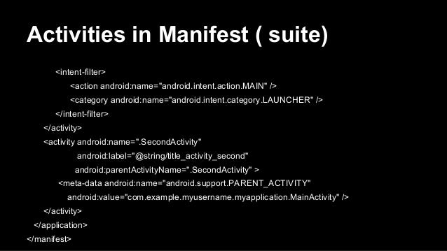 """Activities in Manifest ( suite) <intent-filter> <action android:name=""""android.intent.action.MAIN"""" /> <category android:nam..."""