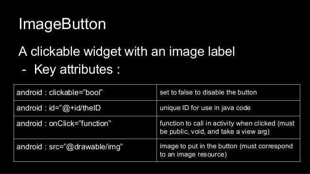 """ImageButton A clickable widget with an image label - Key attributes : android : clickable=""""bool"""" set to false to disable t..."""