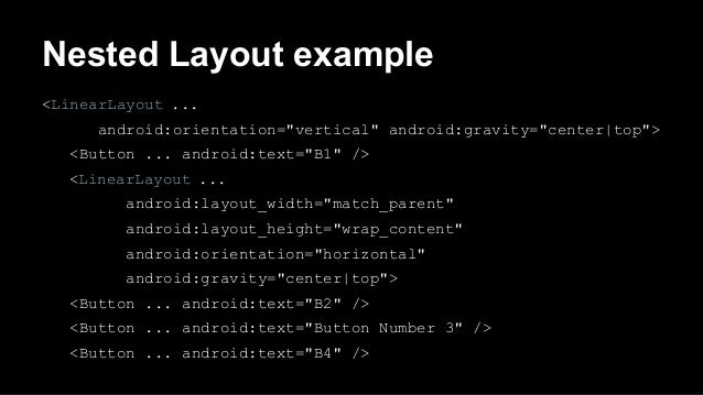 """Nested Layout example <LinearLayout ... android:orientation=""""vertical"""" android:gravity=""""center top""""> <Button ... android:t..."""