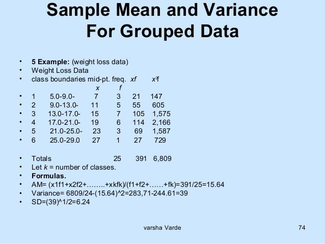 how to solve variance in statistics
