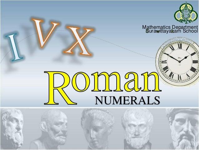 Mathematics Department ura ittaya arn School NUMERALS