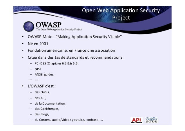 """Open  Web  Applica*on  Security   Project   • OWASP  Moto  :  """"Making  Applica*on  Security  Visibl..."""