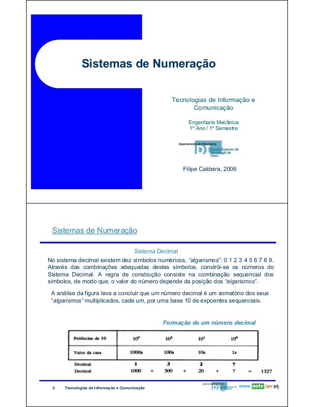 Sistemas de Numeração Tecnologias de Informação e Comunicação Engenharia Mecânica 1º Ano / 1º Semestre  Filipe Caldeira, 2...