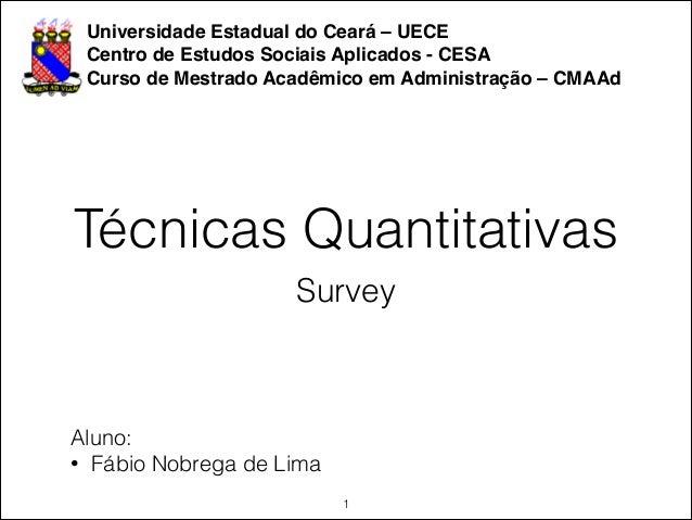 Universidade Estadual do Ceará – UECE! Centro de Estudos Sociais Aplicados - CESA! Curso de Mestrado Acadêmico em Administ...