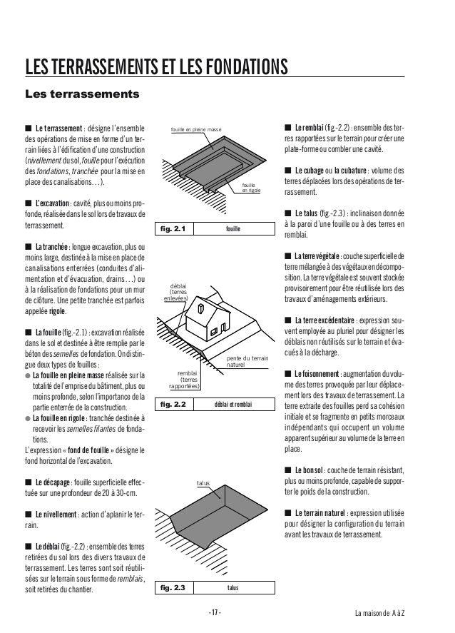 La maison de A à Z-17- LESTERRASSEMENTSETLESFONDATIONS Les terrassements ■ Le terrassement: désigne l'ensemble des opérati...