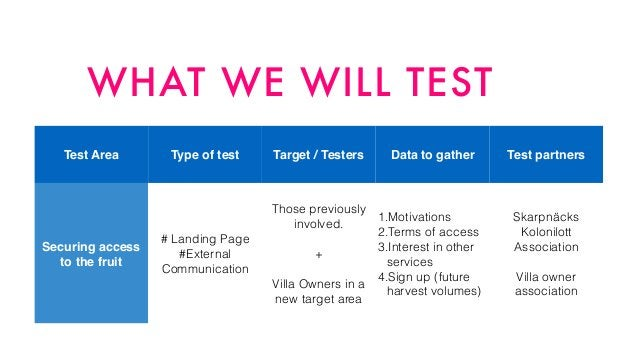 WHAT WE WILL TEST Test Area Type of test Target / Testers Data to gather Test partners Securing access ! to the fruit # La...