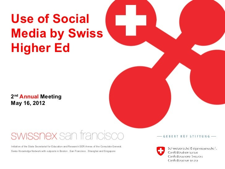 Use of SocialMedia by SwissHigher Ed2nd Annual MeetingMay 16, 2012Initiative of the State Secretariat for Education and Re...