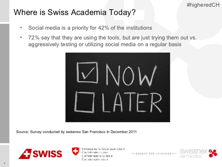 #higheredCH    Where is Swiss Academia Today?          Social media is a priority for 42% of the institutions          72%...