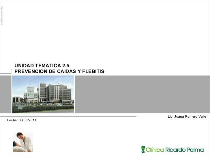 Lic. Juana Romero Valle  UNIDAD TEMATICA 2.5.  PREVENCIÓN DE CAIDAS Y FLEBITIS Fecha: 30/06/2011