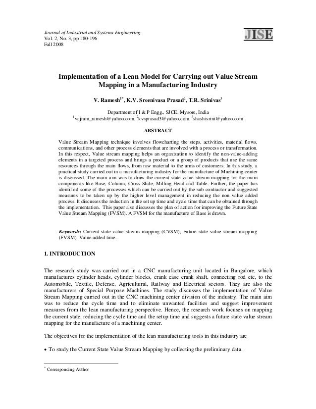 Journal of Industrial and Systems EngineeringVol. 2, No. 3, pp 180-196Fall 2008         Implementation of a Lean Model for...