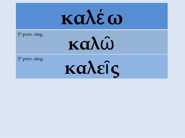 καλ ωέ καλῶ 1ª pers. sing. καλε ςῖ 2ª pers. sing.