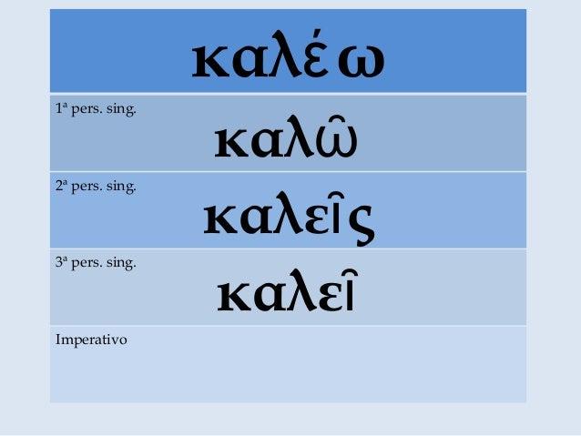 καλ ωέ καλῶ 1ª pers. sing. καλε ςῖ 2ª pers. sing. καλεῖ 3ª pers. sing. Imperativo