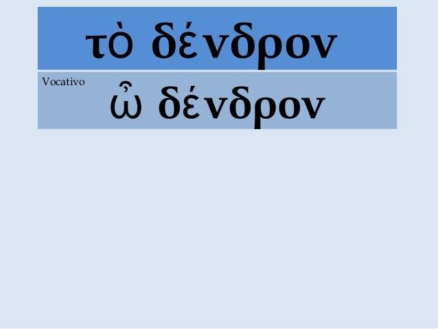 τ δ νδρονὸ έ δ νδρονὦ έ Vocativo