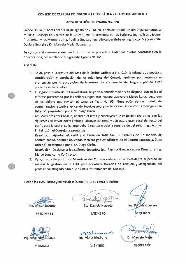 O     CONSEJO DE CARRERA DE INGENIERÍA GEOGRÁFICA Y DEL MEDIO AMBIENTE ACTA DE SESIÓN ORDINARIA No.  020  Siendo las 14:30...