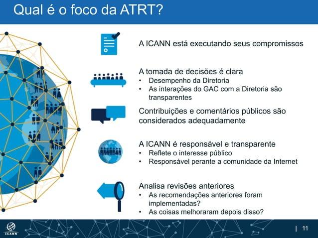 | 11 Qual é o foco da ATRT? A ICANN está executando seus compromissos A tomada de decisões é clara • Desempenho da Diretor...