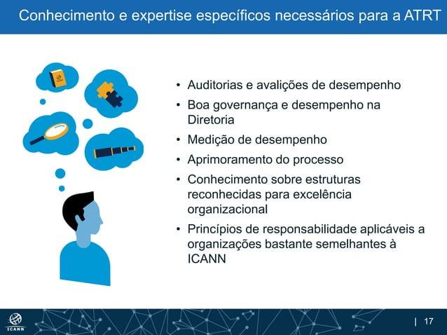 | 17 Conhecimento e expertise específicos necessários para a ATRT • Auditorias e avalições de desempenho • Boa governança ...
