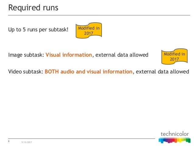 Up to 5 runs per subtask! Image subtask: Visual information, external data allowed Video subtask: BOTH audio and visual in...