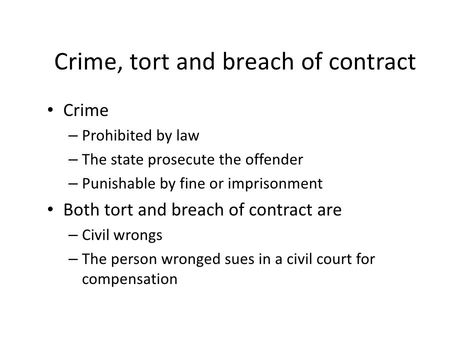 contrast liability in tort with contractual liability Tort liability is a tool that achieves that aim by shifting costs  a social contract conception of the tort law of accidents, in postema 2001: 22-71.