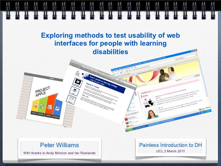 Exploring methods to test usability of web             interfaces for people with learning                         disabil...