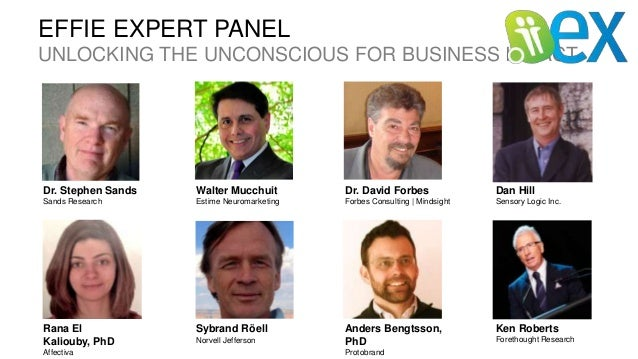 EFFIE EXPERT PANEL UNLOCKING THE UNCONSCIOUS FOR BUSINESS IMPACT Rana El Kaliouby, PhD Affectiva Sybrand Röell Norvell Jef...